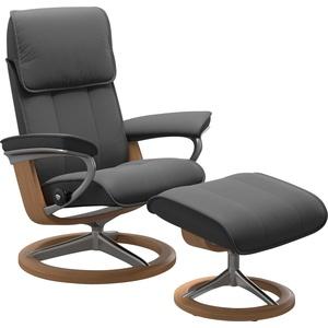 Stressless® Relaxsessel Admiral (Set, Relaxsessel mit Hocker), mit Hocker, mit Signature Base, Größe M & L, Gestell Eiche grau 93 cm x 113 cm x 79 cm