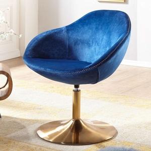 Wohnling Loungesessel SARIN Samt Blau / Gold 70x79x70 cm Design Drehstuhl, Clubsessel Polsterstuhl mit Armlehne, Drehsessel Cocktailsessel Lounge, Barsessel Besucherstuhl, Sessel mit Stoffbezug blau