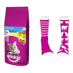 WHISKAS Adult Sterile 14kg + Socken mit Katzenmuster