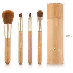 Luvia Cosmetics Kosmetikpinsel-Set Travel Bamboo Tube, 4 tlg.
