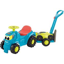 Kindertraktor mit Anhänger und Rasenmäher blau/gelb