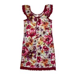 Graziella Nachthemd Kurzes nachthemd mit Blüten-Print und Volants Nachthemd mit Blüten-Print und Volants 44