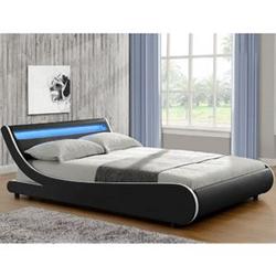 ArtLife Polsterbett Bett Valencia 180 x 200 cm schwarz Doppelbett mit LED-Beleuchtung und Lattenrost