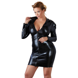 Kleid mit Wetlook & Zip