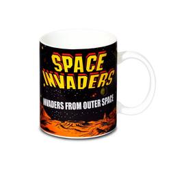 LOGOSHIRT Tasse mit tollem Retro-Print Retro Game - Space Invaders schwarz