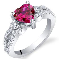 Ring aus Silber mit Rubin in Herzform Phobeus