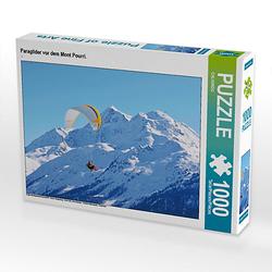 Paraglider vor dem Mont Pourri. Lege-Größe 64 x 48 cm Foto-Puzzle Puzzle