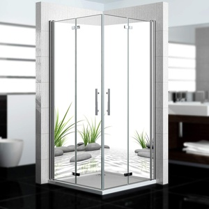 dedeco Eck-Duschrückwand wasserfest mit Zen Motiv - 2 x 90x200cm, als Badrückwand zum Fliesenersatz, als Dekorwand, Wandverkleidung und Duschplatte aus hochwertigem Aluminium - Made in Germany