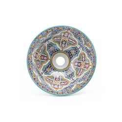 Casa Moro Waschbecken Orientalisches Keramik-Waschbecken Fes73 bunt Ø 35 cm rund, Als Aufsatzwaschbecken Handwaschbecken für Küche Gäste-Bad Badezimmer, WB35273, Handmade