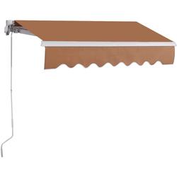 COSTWAY Markise Sonnenmarkise, Terrassenmarkise, Klemmmarkise 3 x 2,5 m, mit Kurbel, für Balkon und Veranda braun