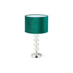 relaxdays Nachttischlampe Tischlampe Kristall und Samt in Grün