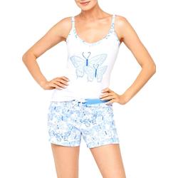 Damen Schlafanzug, kurz Cybèle weiß-blau