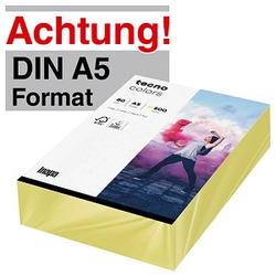 tecno Kopierpapier colors hellgelb DIN A5 80 g/qm 500 Blatt
