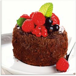 Artland Glasbild Feiner Schokoladenkuchen mit Beeren, Süßspeisen (1 Stück) 20 cm x 20 cm