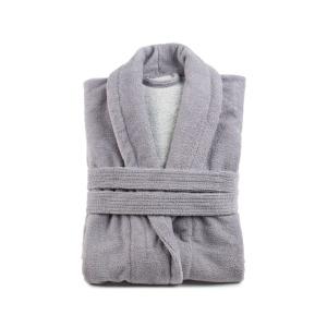 Gözze Turin Soft Bademantel mit Schalkragen, silber, Morgenmantel aus 50% Baumwolle und 50% Microfaser, Größe: L