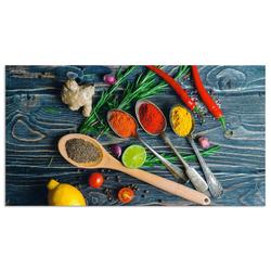 Artland Küchenrückwand Gewürze in Metalllöffeln, (1-tlg) 120 cm x 65 cm x 0,3 cm