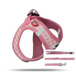 Curli Hunde-Geschirr Vest Geschirr Puppy Welpen Set, Nylon rosa XXXS - 24 cm - 28 cm