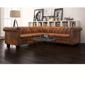 5-Sitzer Leder Sofa Chesterfield Couch Loungesofa Sitzfläche Vintage Wohnmöbel