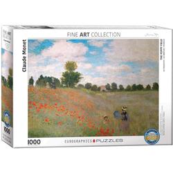 empireposter Puzzle Claude Monet - Mohnfeld bei Argenteuil - 1000 Teile Puzzle im Format 68x48 cm, 1000 Puzzleteile