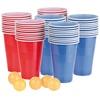 infactory Trinkspiel-Set Bier Pong mit 60 Bechern (je 450 ml) und 5 Bällen