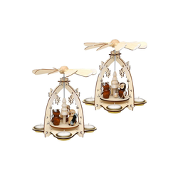 SIGRO Weihnachtspyramide Holz Teelichtpyramide mit Eulenfiguren
