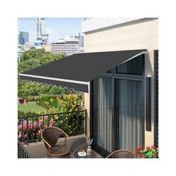 COSTWAY Markise Balkonmarkise, Sonnenmarkise, Terrassenmarkise mit kurbel, Sonnenschutz, 2,5 x 2 m grau 200 cm x 250 cm