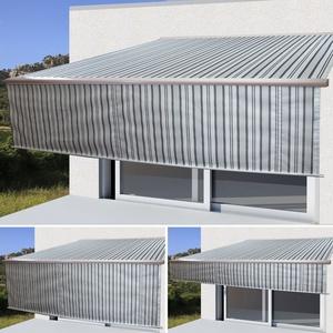 Mendler Elektrische Vollkassetten-Markise T124, 5x3m ausfahrbarer Volant ~ Polyester Grau/Weiß