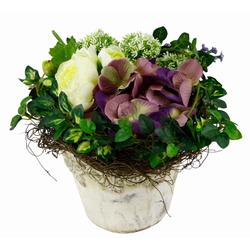 Kunstpflanze Hortensie/Allium, I.GE.A., Höhe 25 cm