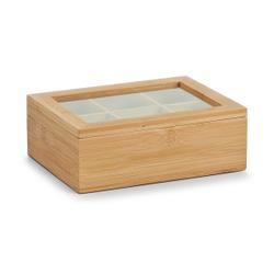 Zeller Bamboo Teebeutelbox, Teebox zur Aufbewahrung verschiedenster Teebeutel geeignet, Maße: 21 x 16 x 7,5 cm