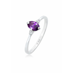 Elli Fingerring Zirkonia Kristalle Violett Verlobung 925er Silber, Kristall Ring 58