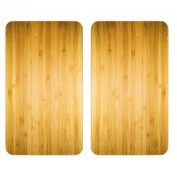 WENKO Küchenherdaufsatz Herdabdeckplatte Universal Holz-Optik, 2er Set, für alle Herdarten
