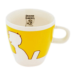 Jacobs Douwe Egberts Becher Kaffeebecher mit Henkel, weiß - gelb, 260 ml, Porzellan