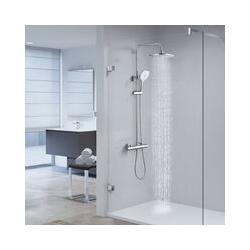 CECIPA Duschsystem mit Thermostat ohne Wasserhahn Thermostatische Dusche Runde Röhre Chrom