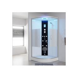 TroniTechnik Eckdusche EASY Dampfdusche, BxT: 90x90 cm, ESG, inkl. Dampfgenerator bis 60°C, 6 Massagedüsen, klappbarer Sitz 90 cm x 220 cm x 90 cm