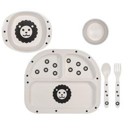 Kindsgut Kindergeschirr-Set Geschirrset (4-tlg), Melamin, Kinder-Geschirr, Besteck, Löwe, Ess-Set aus Gabel, Löffel, Teller, Schale und Becher, unisex, umweltfreundlich weiß