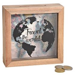 matches21 HOME & HOBBY Spardose Spardose Geld Rahmen Holz Einwurfschlitz Geldgeschenk Travel the world