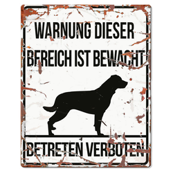 D&D Warntafel Square Rottweiler weiß