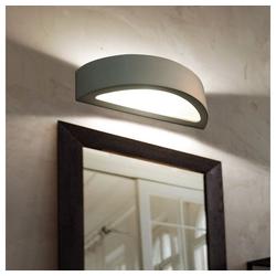 etc-shop Wandleuchte, E27 Wandleuchte Innen Wandleuchte Loft halbrund Treppenaufgang Lampe, Keramik weiß, 1x E27, LxH 38 x 9 cm