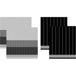 DDDDD Geschirrtuch Jules, (Set, 4 tlg., Combi-Set: bestehend aus 2x Küchentuch + Geschirrtuch) schwarz Geschirrtücher Küchenhelfer Haushaltswaren