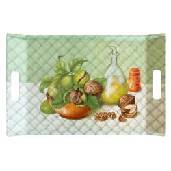 Lashuma Tablett Walnüsse, Melamin, Geschirrtablett mit Griffen, rechteckiges Kaffeetablett grün 54 cm x 35 cm x 3 cm