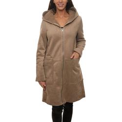 GREYSTONE Wintermantel GREYSTONE Kapuzen-Mantel puristischer Damen Winter-Mantel in Veloursleder-Optik Outdoor-Jacke Taupe S