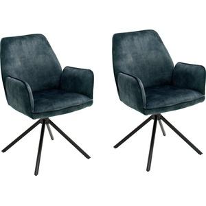 MCA furniture Esszimmerstuhl Ottawa mit Armlehne (Set, 2 Stück), Vintage Veloursoptik mit Keder, Stuhl belastbar bis 120 Kg blau