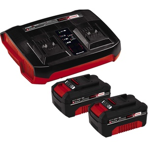 Original Einhell Starter Kit Akku und Ladegerät Power X-Change (Lithium Ionen, 18 V, 2x4,0 Ah Akku und Twincharger, passend für alle Power X-Change Geräte)