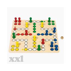 goki Spiel, XXL Brettspiel Ludo goki 5, Leicht zu greifende Spielfiguren auf einem überdimensionalen Spielbrett