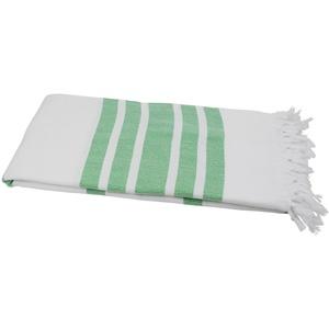 my Hamam Hamamtücher Hamamtuch XL weiß gelbgrün mit Fransen (1-St), saugstark & weich