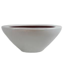 Dehner Übertopf Schale, Ø 30 cm, Höhe 14 cm, Keramik, glasiert grau