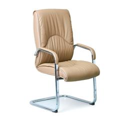 Freischwinger stuhl aus leder lux, beige