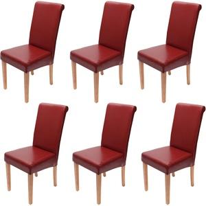 6x Esszimmerstuhl Stuhl Küchenstuhl Novara II, Leder ~ rot, helle Beine
