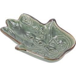 Guru-Shop Seifenschale Exotische Keramik Seifenschale - Hamsa Hand grün 10 cm x 2 cm x 8 cm