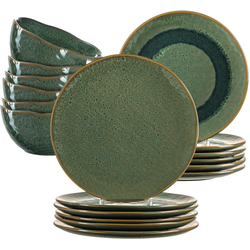 LEONARDO Geschirr-Set Matera (18-tlg), Keramik, rustikaler Look grün
